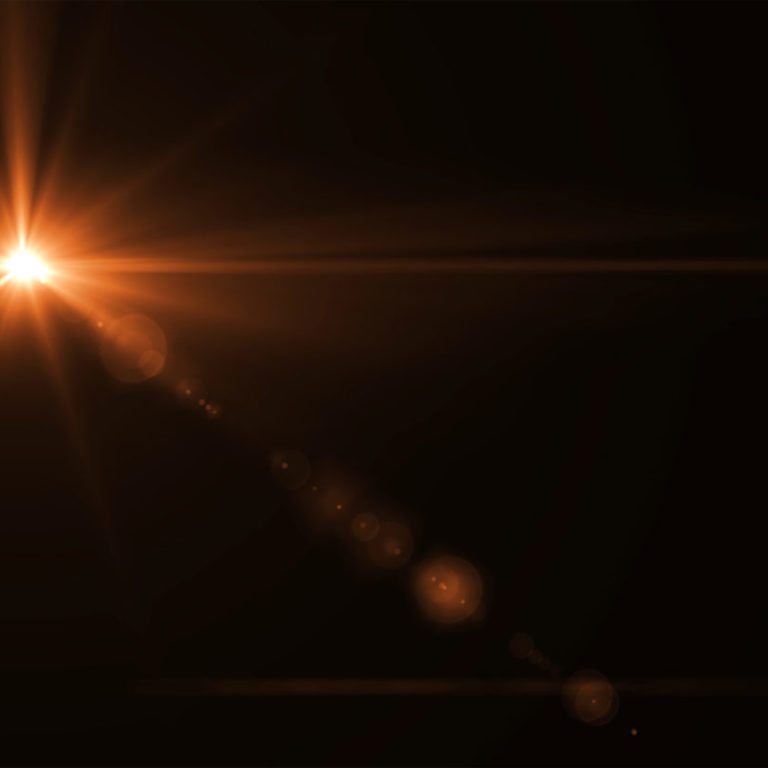 abstract sun burst with digital lens flare light over black background